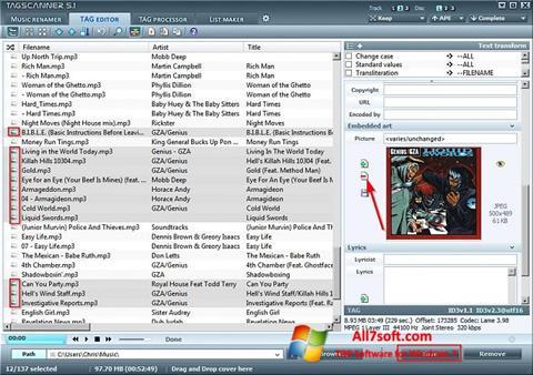 Στιγμιότυπο οθόνης TagScanner Windows 7