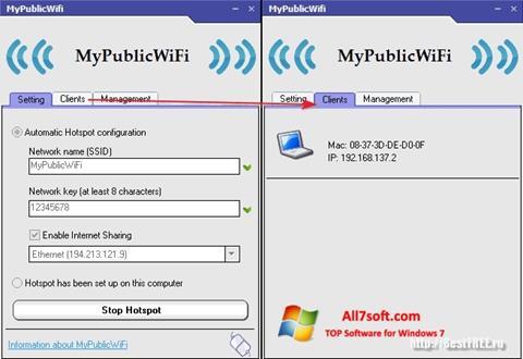 Στιγμιότυπο οθόνης MyPublicWiFi Windows 7