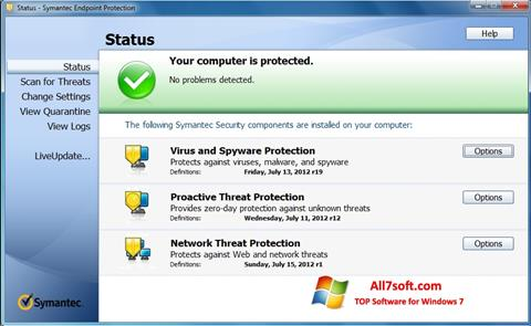 Στιγμιότυπο οθόνης Symantec Endpoint Protection Windows 7