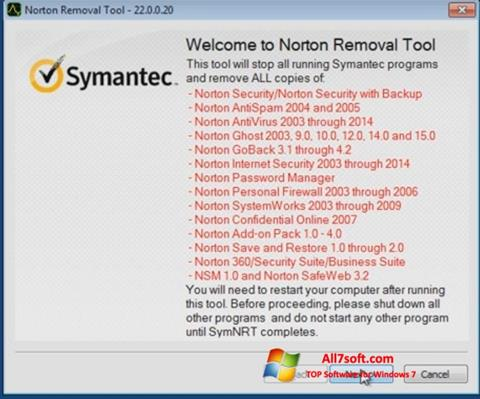 Στιγμιότυπο οθόνης Norton Removal Tool Windows 7