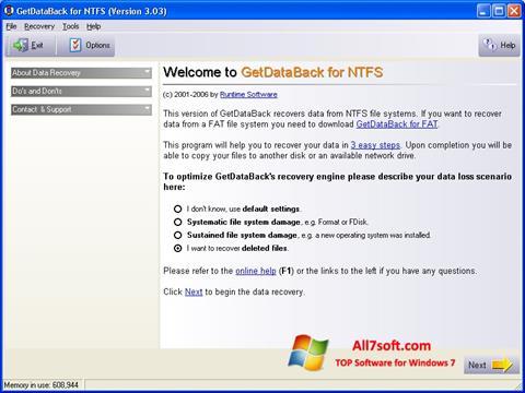 Στιγμιότυπο οθόνης GetDataBack Windows 7