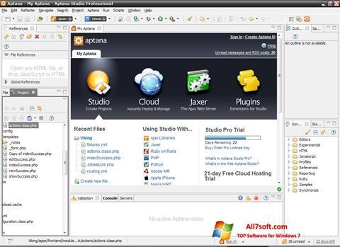 Στιγμιότυπο οθόνης Aptana Studio Windows 7