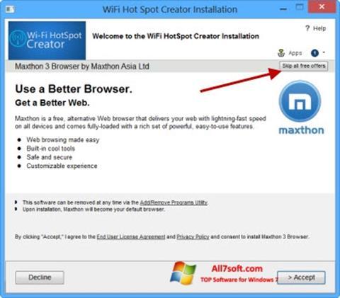 Στιγμιότυπο οθόνης Wi-Fi HotSpot Creator Windows 7