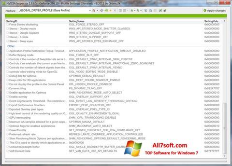 Στιγμιότυπο οθόνης NVIDIA Inspector Windows 7