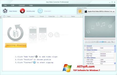 Στιγμιότυπο οθόνης Any Video Converter Windows 7