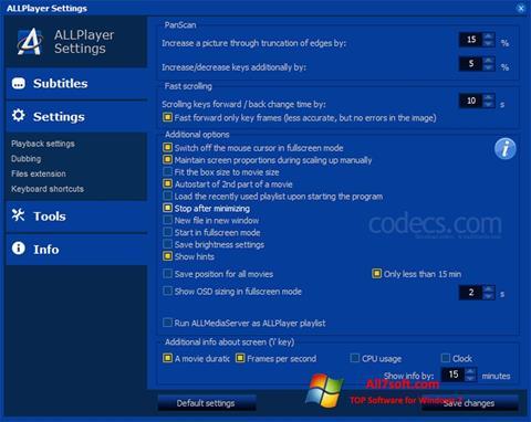 Στιγμιότυπο οθόνης ALLPlayer Windows 7