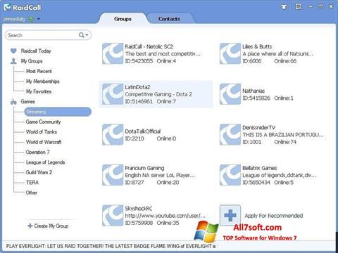 Στιγμιότυπο οθόνης RaidCall Windows 7