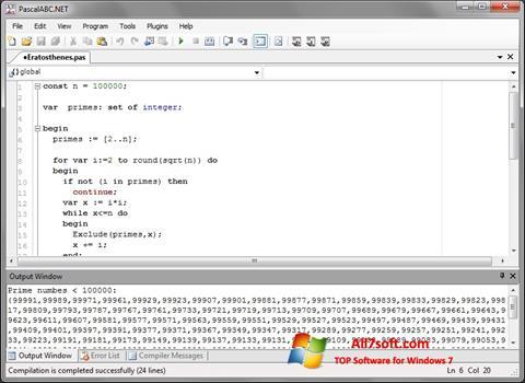 Στιγμιότυπο οθόνης Pascal ABC Windows 7