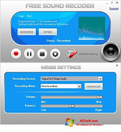 Στιγμιότυπο οθόνης Free Sound Recorder Windows 7