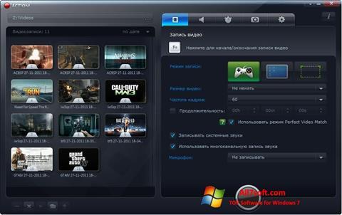 Στιγμιότυπο οθόνης Mirillis Action! Windows 7