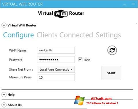 Στιγμιότυπο οθόνης Virtual WiFi Router Windows 7