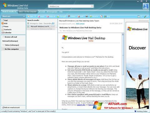 Στιγμιότυπο οθόνης Windows Live Mail Windows 7