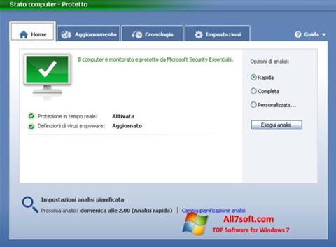 Στιγμιότυπο οθόνης Microsoft Security Essentials Windows 7