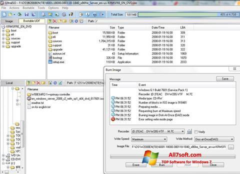 Στιγμιότυπο οθόνης UltraISO Windows 7