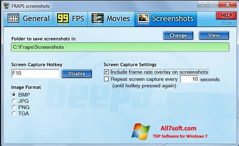 Στιγμιότυπο οθόνης Fraps Windows 7