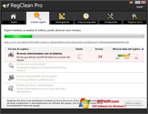 Στιγμιότυπο οθόνης RegClean Pro Windows 7