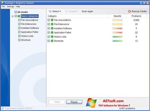 Στιγμιότυπο οθόνης Auslogics Registry Cleaner Windows 7