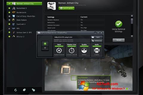 Στιγμιότυπο οθόνης NVIDIA GeForce Experience Windows 7