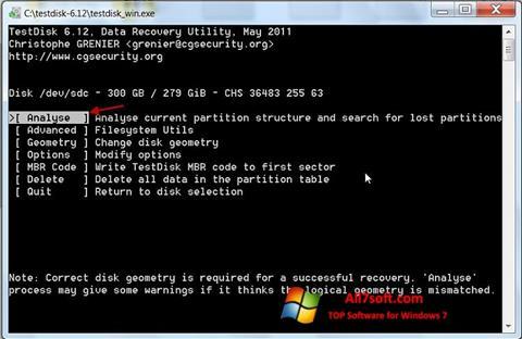 Στιγμιότυπο οθόνης TestDisk Windows 7