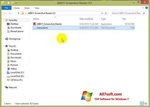 Στιγμιότυπο οθόνης ABBYY Screenshot Reader Windows 7