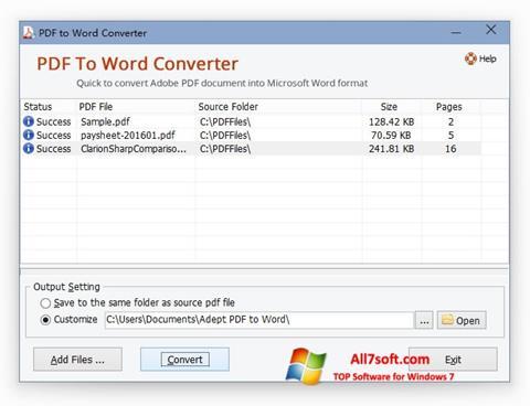 Στιγμιότυπο οθόνης PDF to Word Converter Windows 7