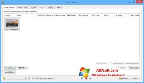 Στιγμιότυπο οθόνης XnConvert Windows 7