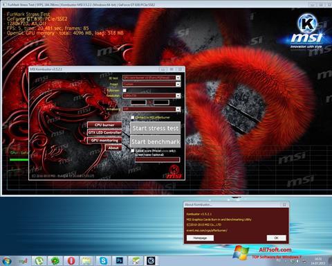 Στιγμιότυπο οθόνης MSI Kombustor Windows 7