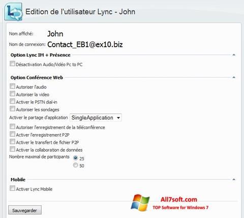 Στιγμιότυπο οθόνης Lync Windows 7