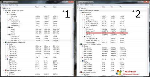 Στιγμιότυπο οθόνης Open Hardware Monitor Windows 7