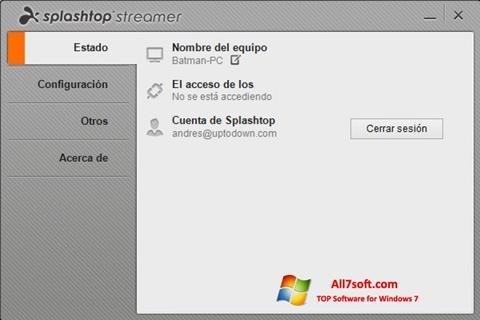 Στιγμιότυπο οθόνης Splashtop Streamer Windows 7