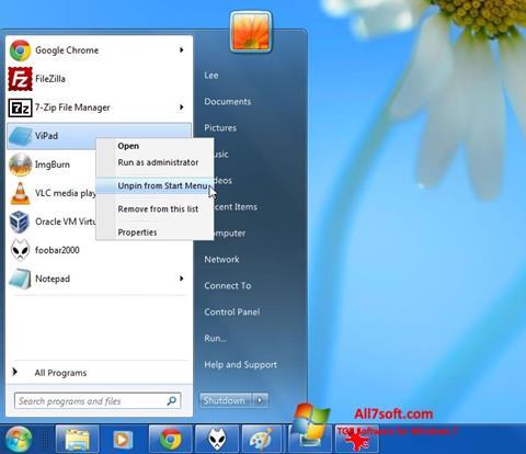 Στιγμιότυπο οθόνης ViStart Windows 7
