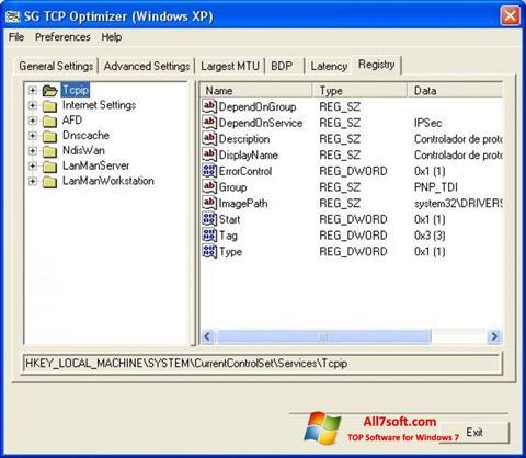Στιγμιότυπο οθόνης TCP Optimizer Windows 7