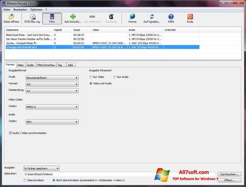Στιγμιότυπο οθόνης XMedia Recode Windows 7