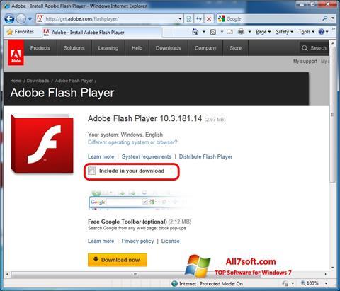 Στιγμιότυπο οθόνης Adobe Flash Player Windows 7