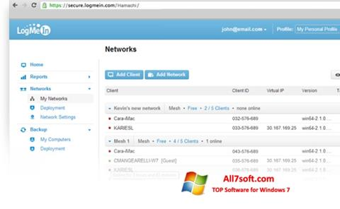 Στιγμιότυπο οθόνης Hamachi Windows 7