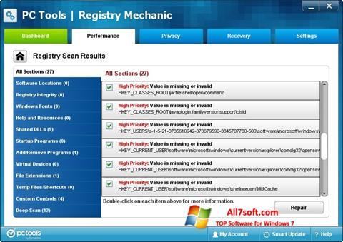 Στιγμιότυπο οθόνης Registry Mechanic Windows 7