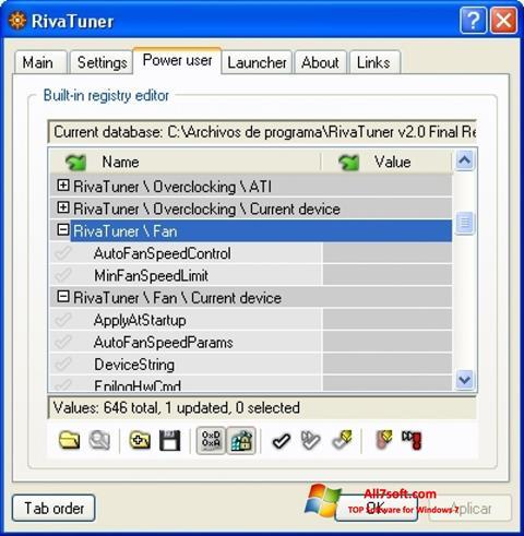 Στιγμιότυπο οθόνης RivaTuner Windows 7