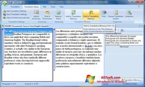 Στιγμιότυπο οθόνης PROMT Windows 7