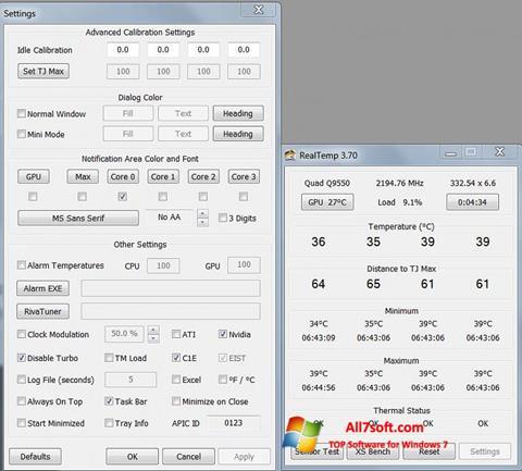 Στιγμιότυπο οθόνης Real Temp Windows 7
