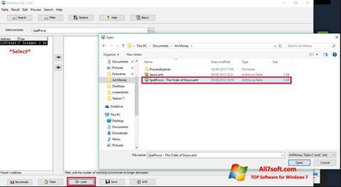 Στιγμιότυπο οθόνης ArtMoney Windows 7