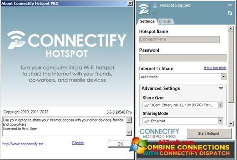 Στιγμιότυπο οθόνης Connectify Windows 7