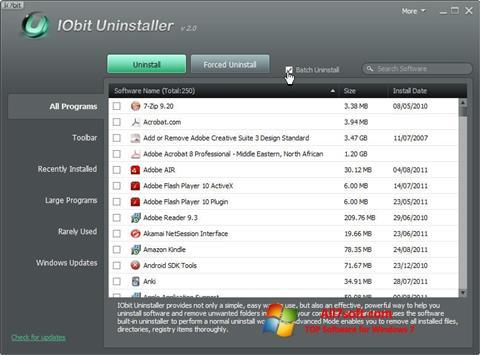 Στιγμιότυπο οθόνης IObit Uninstaller Windows 7