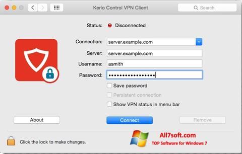 Στιγμιότυπο οθόνης Kerio VPN Client Windows 7
