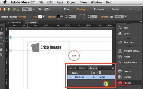 Στιγμιότυπο οθόνης Adobe Muse Windows 7