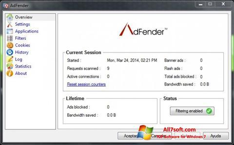 Στιγμιότυπο οθόνης AdFender Windows 7
