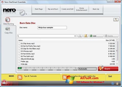 Στιγμιότυπο οθόνης Nero Lite Windows 7