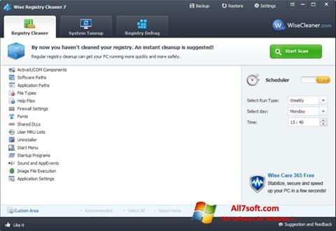 Στιγμιότυπο οθόνης Wise Registry Cleaner Windows 7