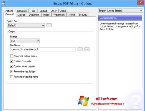 Στιγμιότυπο οθόνης BullZip PDF Printer Windows 7