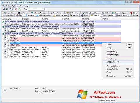 Στιγμιότυπο οθόνης AutoRuns Windows 7