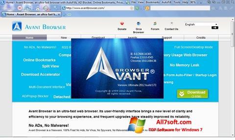 Στιγμιότυπο οθόνης Avant Browser Windows 7